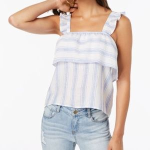 Almost Famous Juniors Striped Ruffle-Trimmed Tank